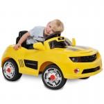 Mini Veículo Elétrico Camaro com Controle Remoto 6V Amarelo Bandeirante
