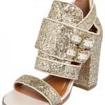 Comprar Sandália dourada com Glitter Santa Lolla Salto Grosso feminina