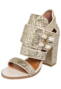Sandália dourada com Glitter Santa Lolla Salto Grosso feminina