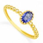 Comprar Anel em Ouro com Zircônia Azul Oval e Branca