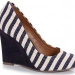 Sapato Feminino Anabela Listrado Marinho