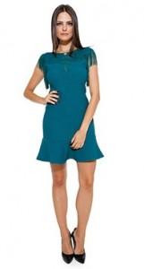 Vestido Feminino com Recorte em Tela Verde