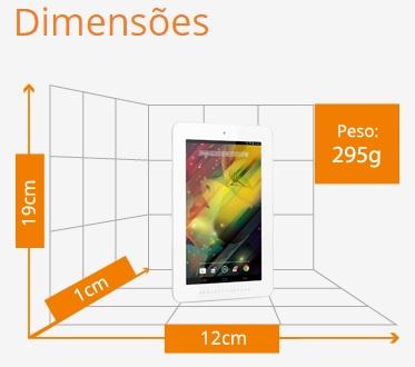 Dimensões do Tablet HP Silve com câmera frontal e traseira
