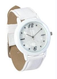 Relógio branco feminino com ponteiros prateados