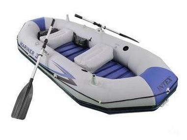 Bote Inflável Mariner para 3 pessoas 300Kg piso rígido, quilha, bomba, Remos Pescaria, Rafiting da Intex