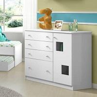 Cômoda infantil branca brilhosa com 4 Gavetas Multimóveis
