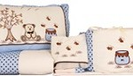 Kit para berço infantil decorativo com 9 peças azul com cor chocolate