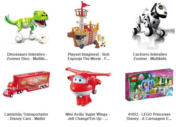 Oferta de brinquedos de marcas para meninos e meninas