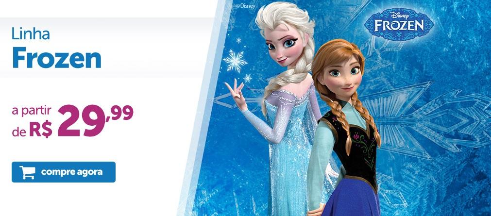 Promoção de produtos do filme Frozen da Disney: Brinquedos, acessórios, kits, eletrônicos, mais!