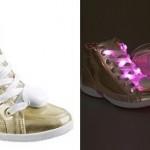 Tênis Luminoso infantil para menina com cadarço e detalhe em LED