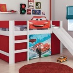 Cama infantil Carros Disney Play MDF com escorregador em promoção