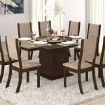 Conjunto Sala de Jantar Savana Mesa e 8 cadeiras cor Chocolate Capuccino