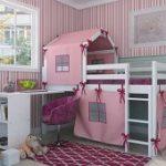 Cama infantil alta Dicolori Bresolin branco com rosa