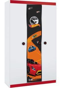 Guarda-Roupa Hot Wheels Happy - 4A 3 Portas 1 Gaveta Branco e Vermelho