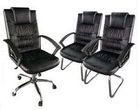 Kit Cadeira de escritório modelo Presidente com duas Cadeiras Interlocutor Bangkok preta