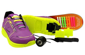 Tênis infantil menina Ortopé Estica e Puxa com rodinha e tiras coloridas