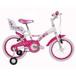 Bicicleta Tito Bikes aro 16 infantil aço My Bike Branca com porta boneca