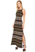 Vestido Lez a Lez Longo Masai Preto/Marrom/Amarelo