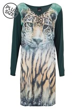 Vestido Curto Rovitex Plus Estampa de Tigre Verde