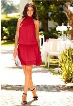 Vestido curto com gola alta vermelho