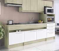 Cozinha Compacta 8 portas e 4 gavetas modelo Open Bali Branco Decibal