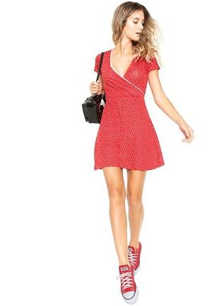 Vestido FiveBlu Curto Estampado Vermelho/Branco
